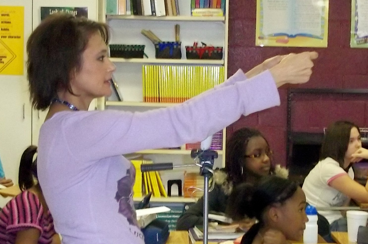 Irene Santiago  teaching acting  young minds at a middle school.