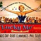 Doris Day, Robert Cummings, Marcel Dalio, Eddie Foy Jr., Phil Silvers, and Nancy Walker in Lucky Me (1954)