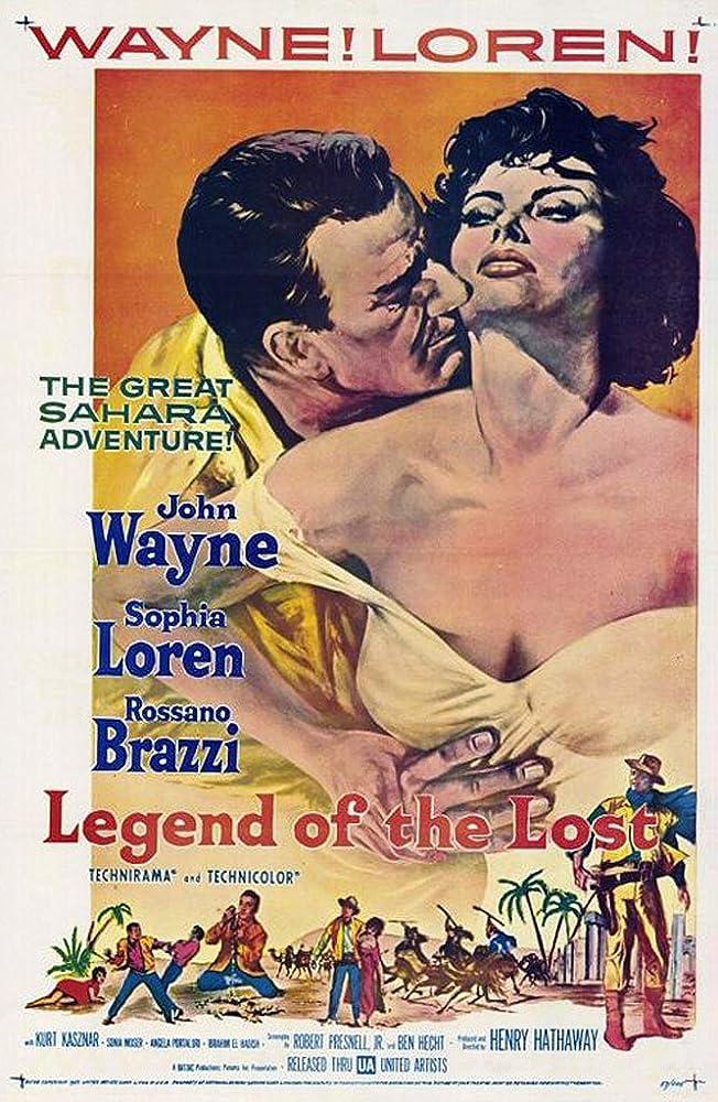 Sophia Loren and John Wayne in Legend of the Lost (1957)