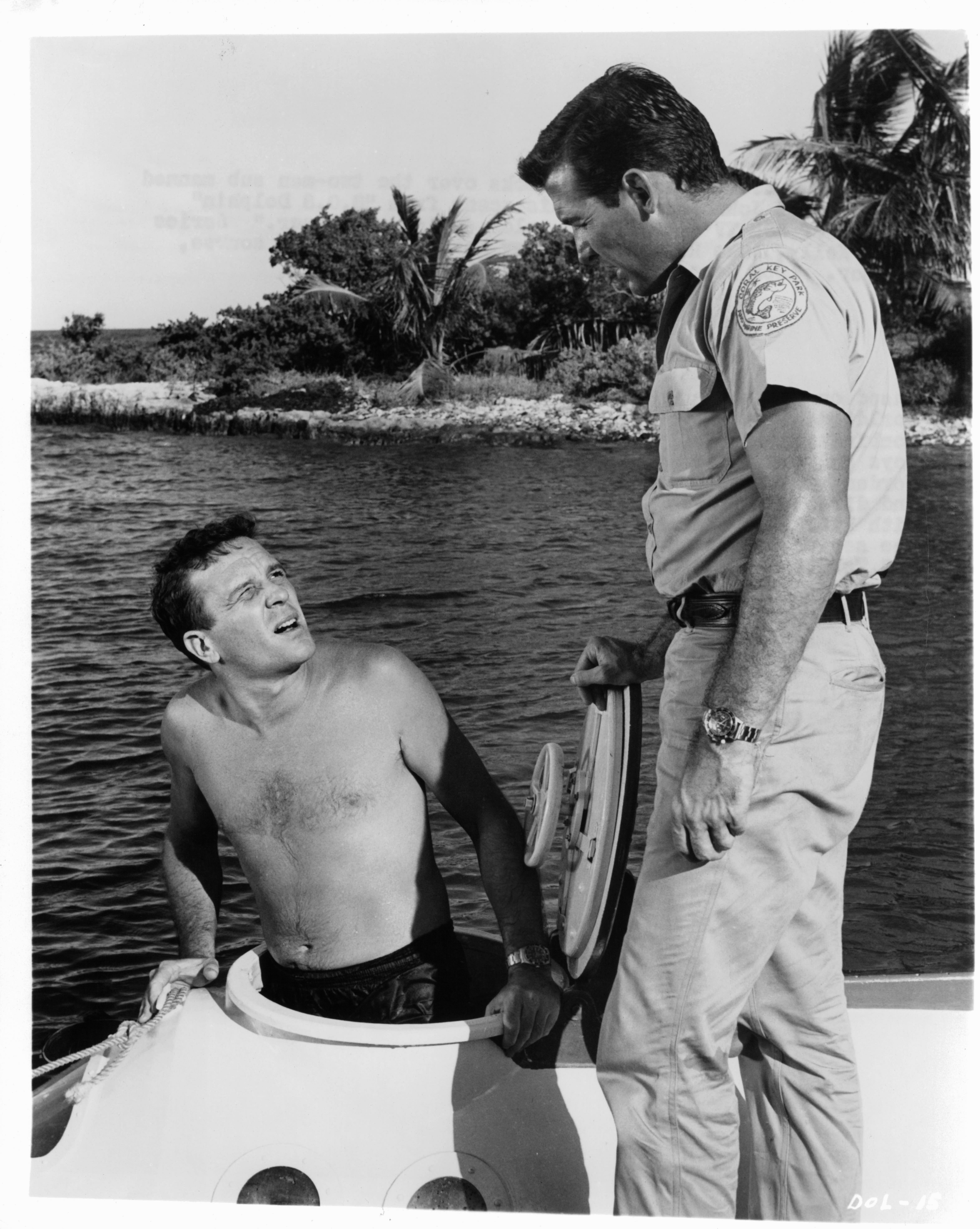 Brian Kelly and John Lasell in Flipper (1964)