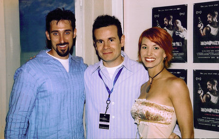 Actor Paul J. Alessi and Actress Amie Barsky with Director Alex Ranarivelo at the Premiere of Morphin(e).