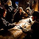 Quentin Tarantino, Jennifer Jason Leigh, Tim Roth, Kurt Russell, and Robert Richardson in The Hateful Eight (2015)