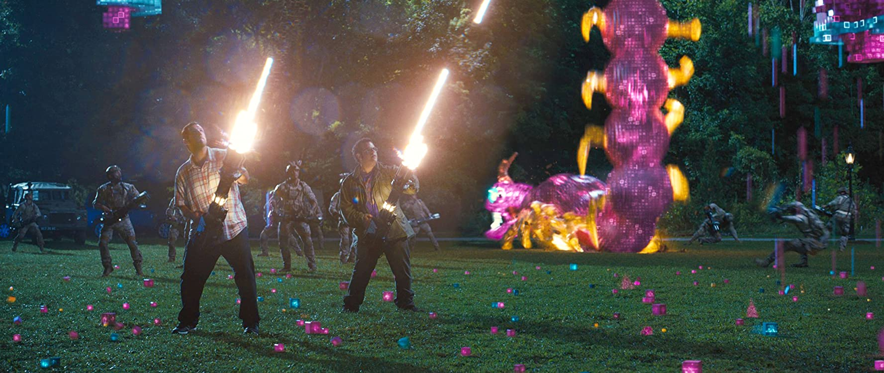Adam Sandler and Josh Gad in Pixels (2015)