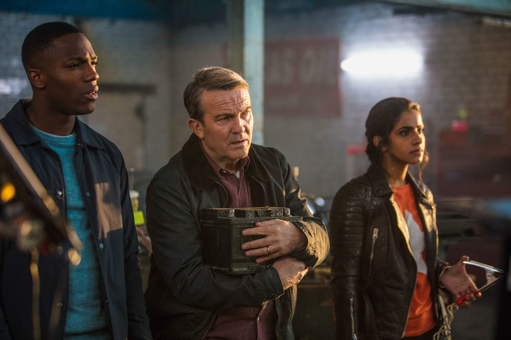 Bradley Walsh, Tosin Cole, and Mandip Gill in Doctor Who (2005)