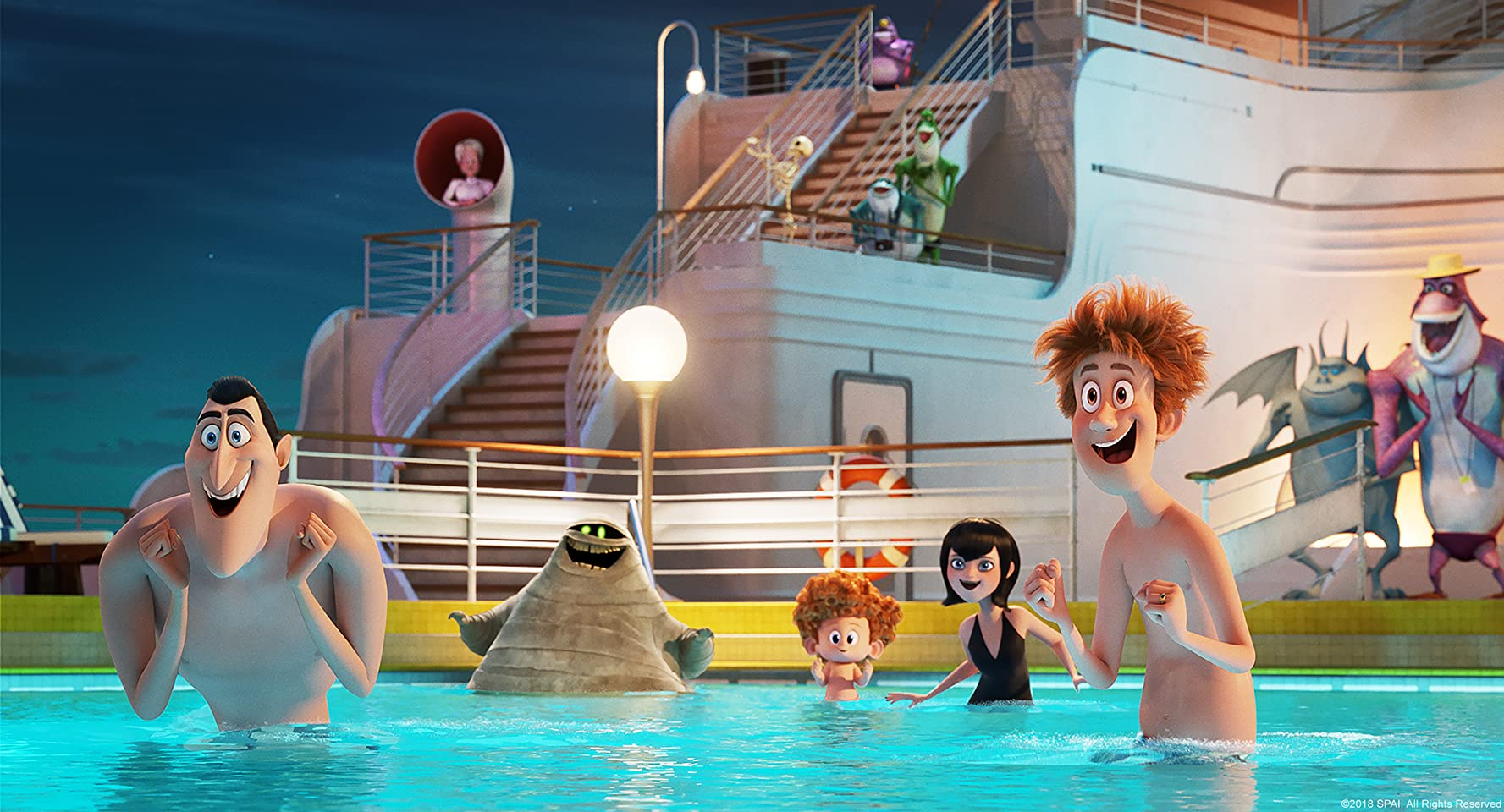 Adam Sandler, Kathryn Hahn, Keegan-Michael Key, Selena Gomez, Andy Samberg, and Asher Blinkoff in Hotel Transylvania 3: Summer Vacation (2018)