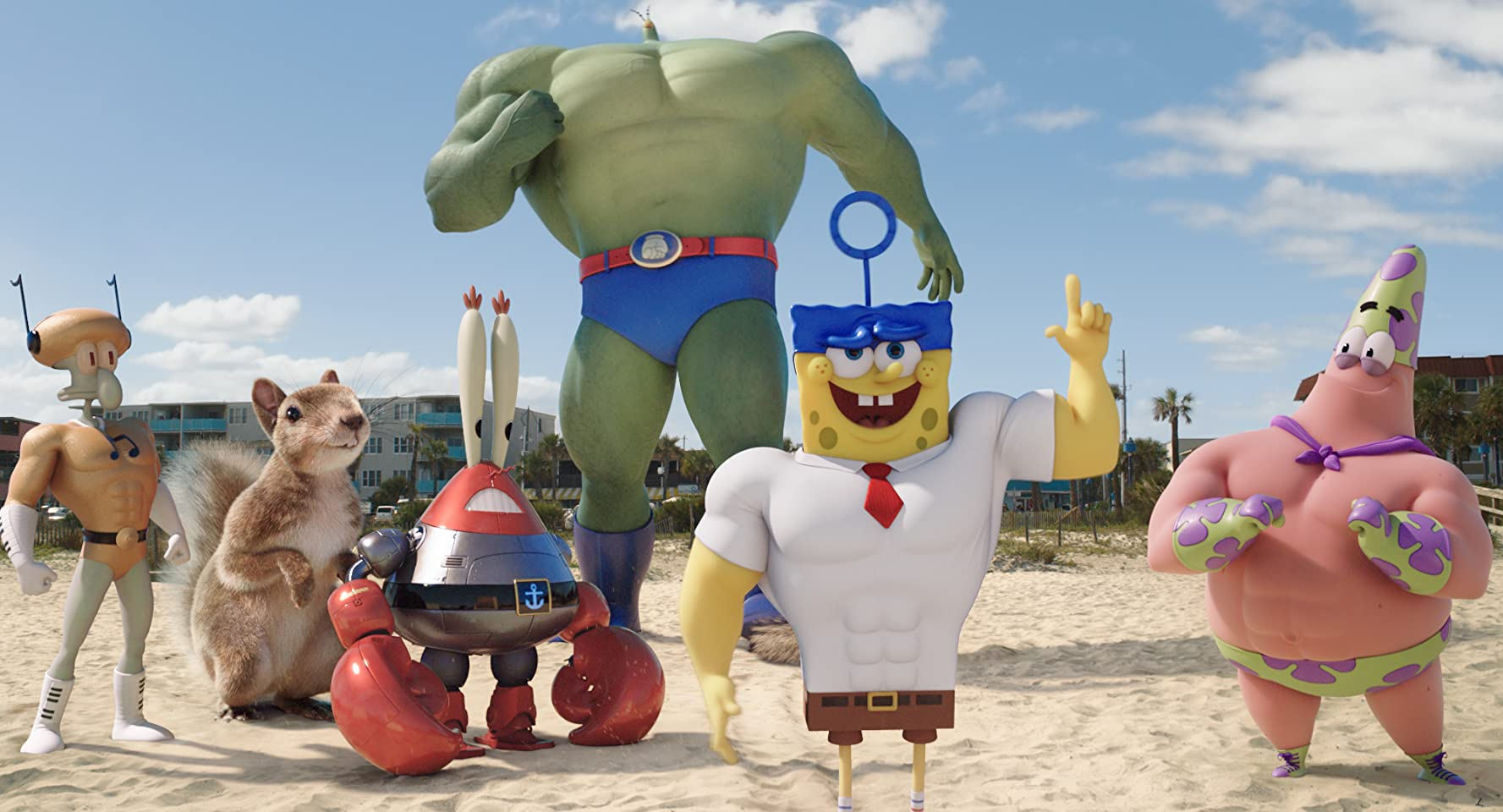 Clancy Brown, Rodger Bumpass, Bill Fagerbakke, Tom Kenny, Carolyn Lawrence, and Mr. Lawrence in The SpongeBob Movie: Sponge Out of Water (2015)