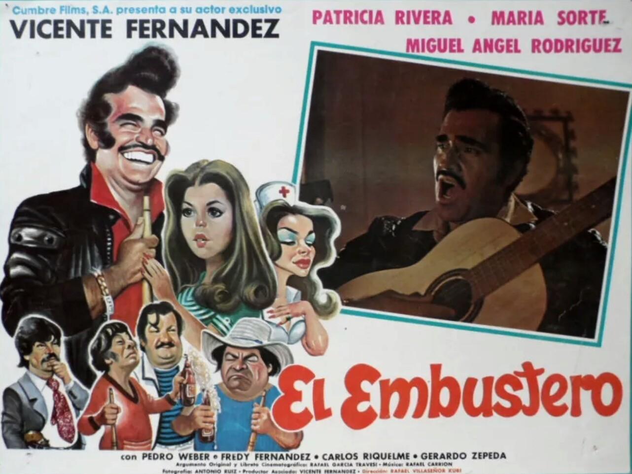 Freddy Fernández, Vicente Fernández, Patricia Rivera, Miguel Ángel Rodríguez, María Sorté, and Pedro Weber 'Chatanuga' at an event for El embustero (1985)