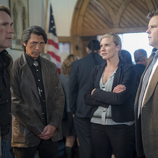Lou Diamond Phillips, Katee Sackhoff, Robert Taylor, and Adam Bartley in Longmire (2012)