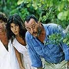 Jean Reno, Patrick Bruel, and Patricia Velasquez in Le jaguar (1996)