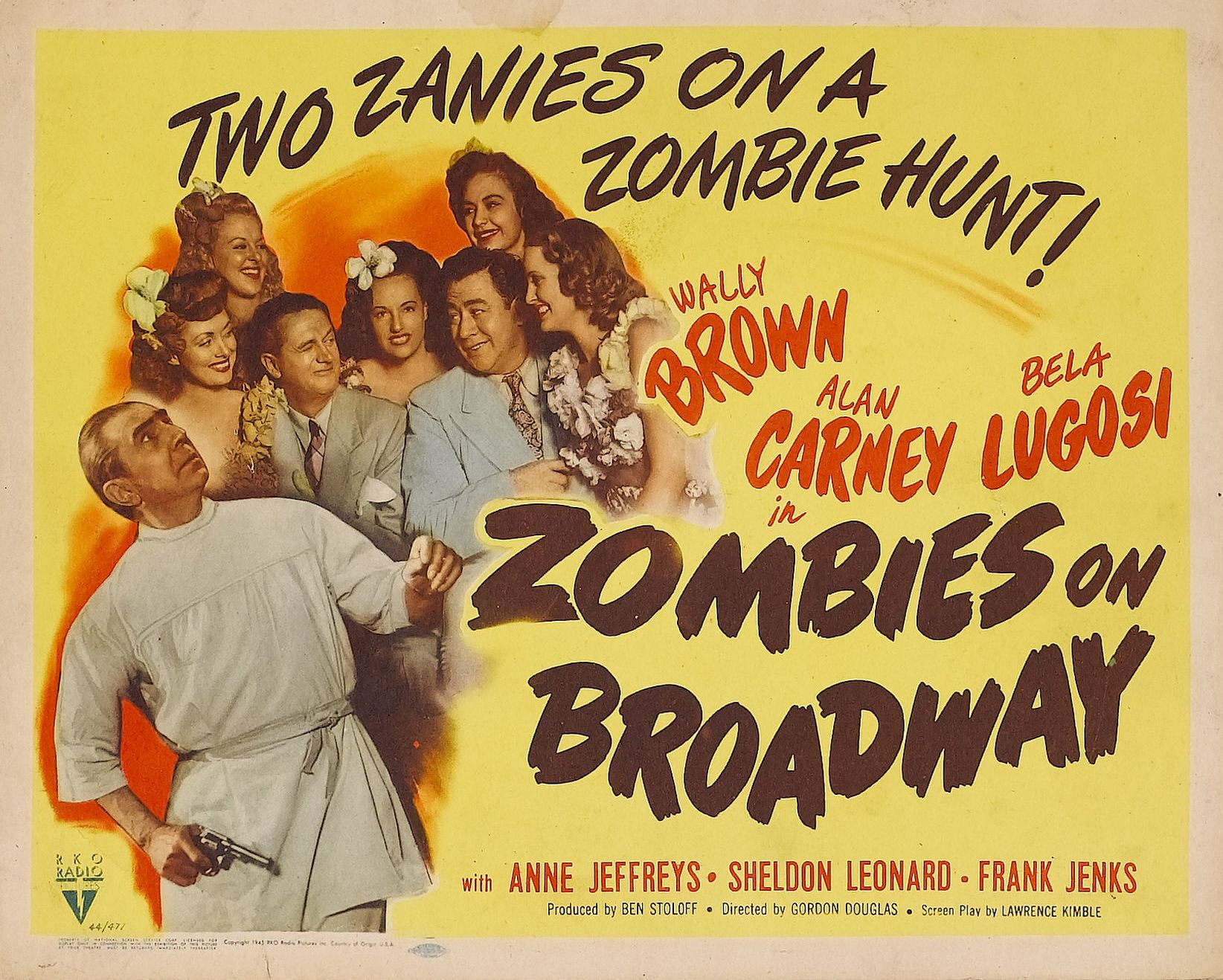 Bela Lugosi, Wally Brown, Alan Carney, Rosemary La Planche, and Virginia Lyndon in Zombies on Broadway (1945)