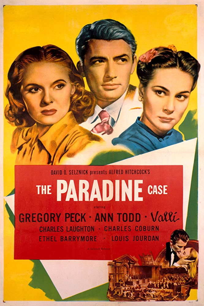 Gregory Peck, Ann Todd, and Alida Valli in The Paradine Case (1947)