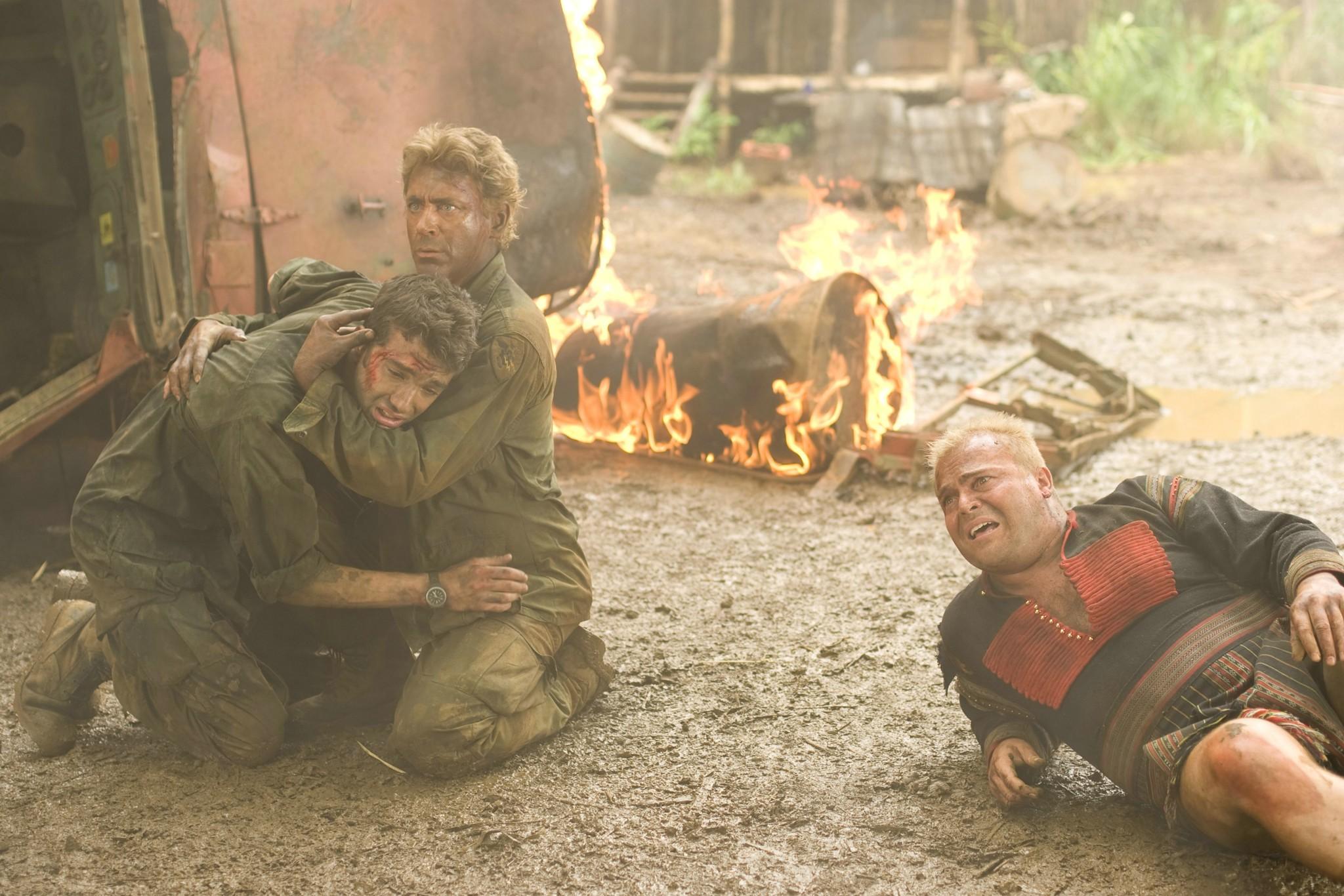 Robert Downey Jr., Jay Baruchel, and Jack Black in Tropic Thunder (2008)