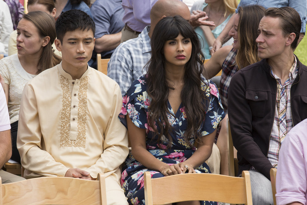Manny Jacinto and Jameela Jamil in The Good Place (2016)
