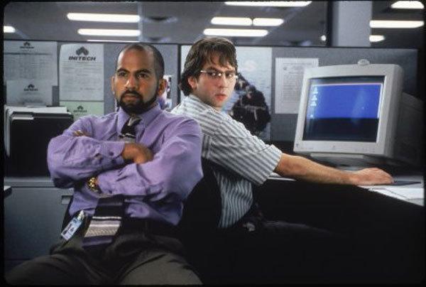 David Herman and Ajay Naidu in Office Space (1999)