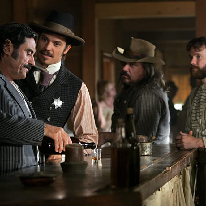 Sean Bridgers, W. Earl Brown, Ian McShane, and Timothy Olyphant in Deadwood (2004)