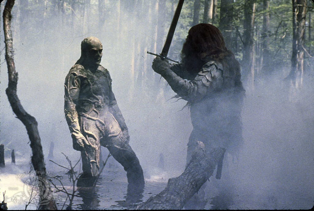 Ben Bates and Dick Durock in Swamp Thing (1982)