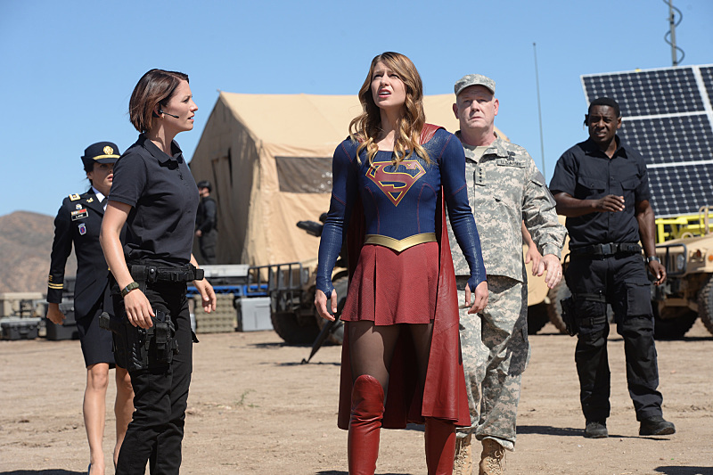 David Harewood, Chyler Leigh, Glenn Morshower, Jenna Dewan, and Melissa Benoist in Supergirl (2015)