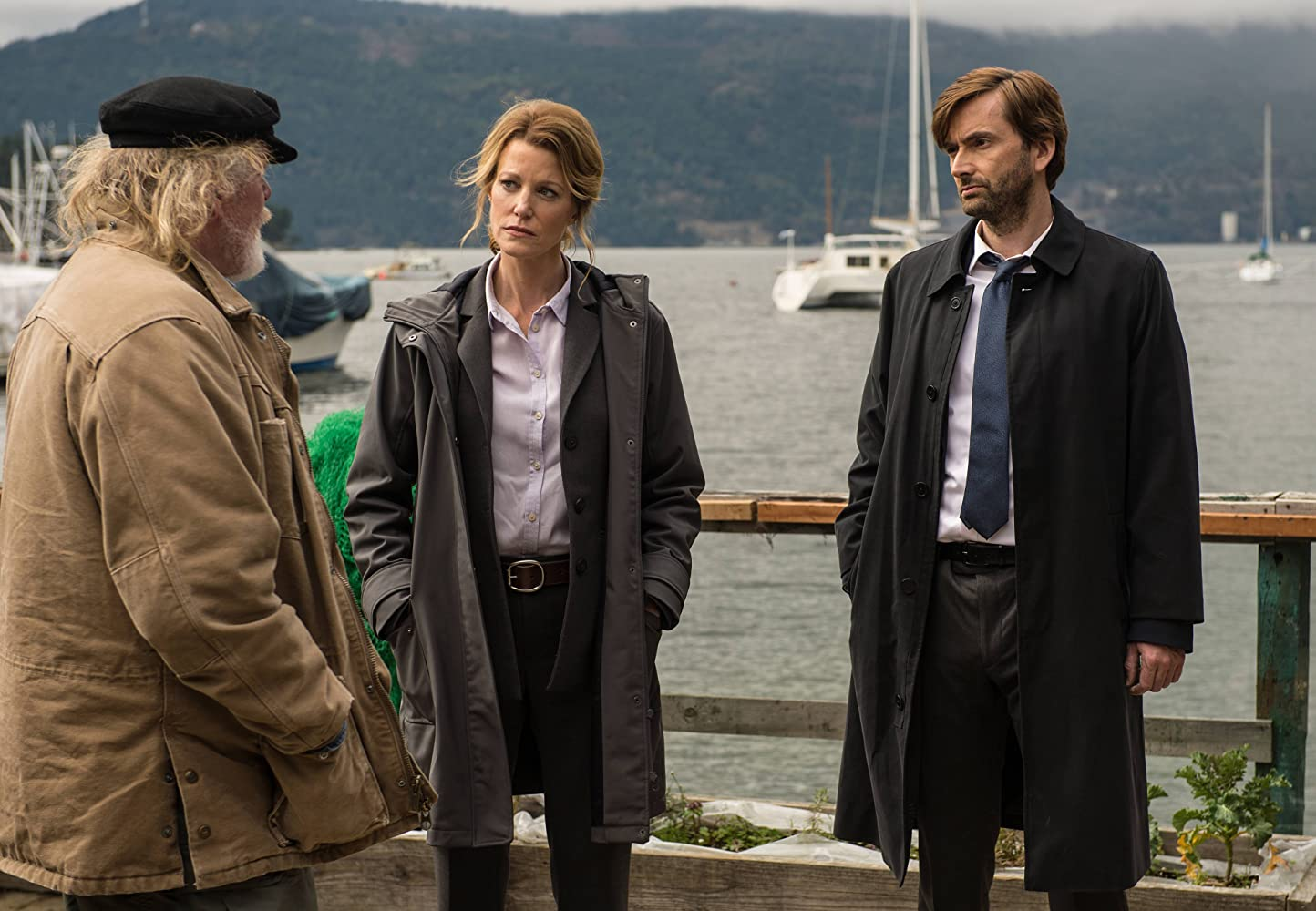 Nick Nolte, Anna Gunn, and David Tennant in Gracepoint (2014)