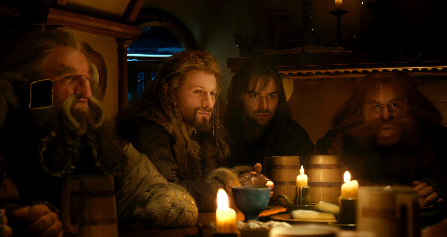 John Callen, Dean O'Gorman, Stephen Hunter, and Aidan Turner in The Hobbit: An Unexpected Journey (2012)
