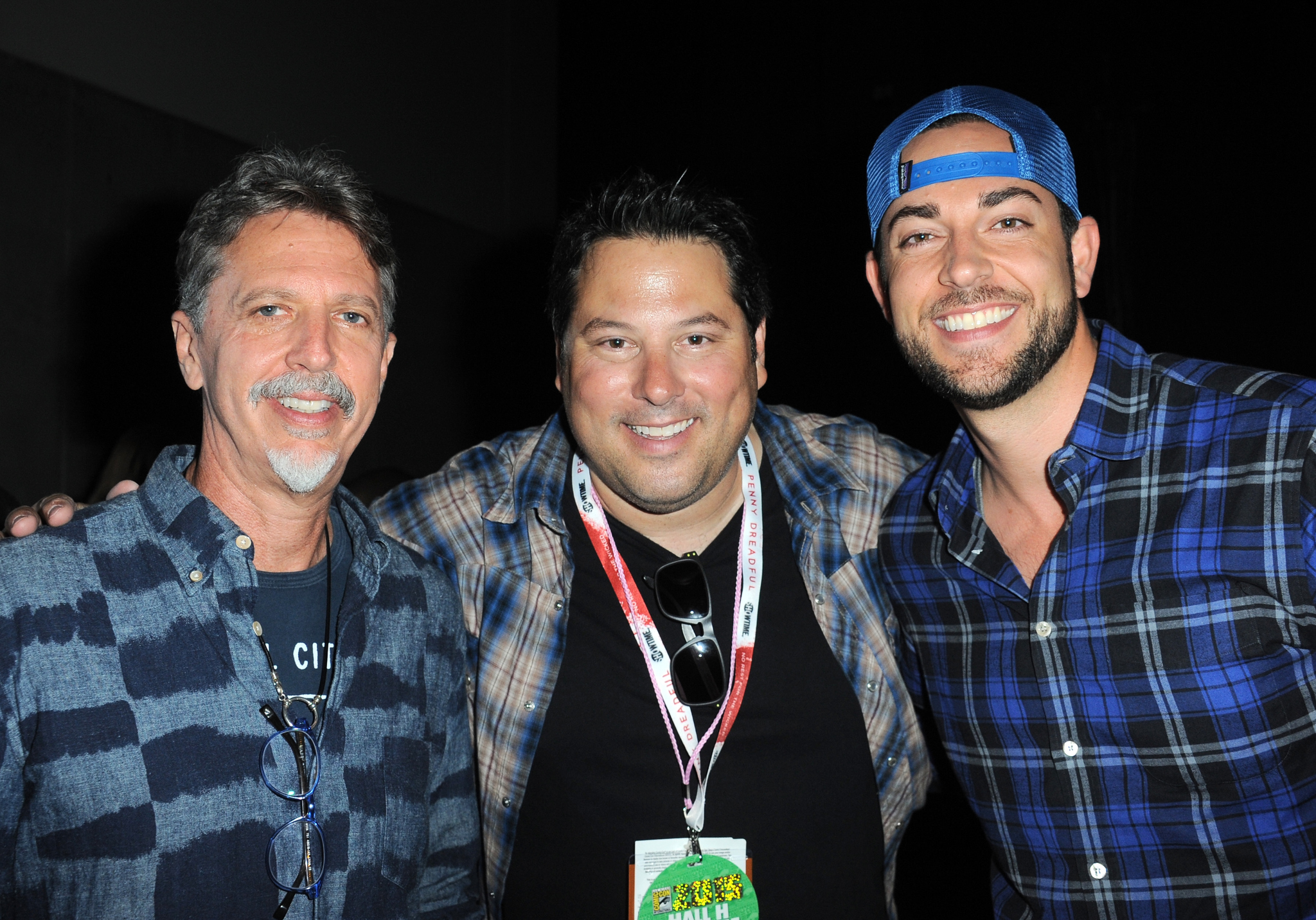 Greg Grunberg, Tim Kring, and Zachary Levi at an event for Heroes Reborn (2015)