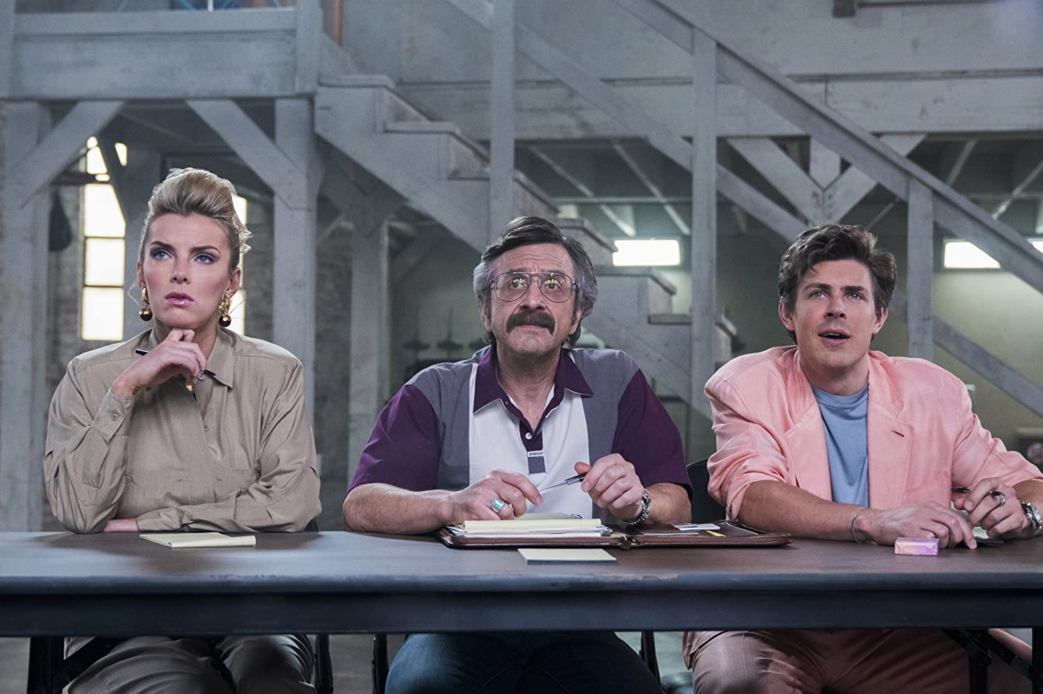 Marc Maron, Chris Lowell, and Betty Gilpin in GLOW (2017)
