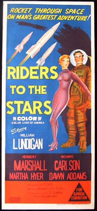 Martha Hyer and William Lundigan in Riders to the Stars (1954)