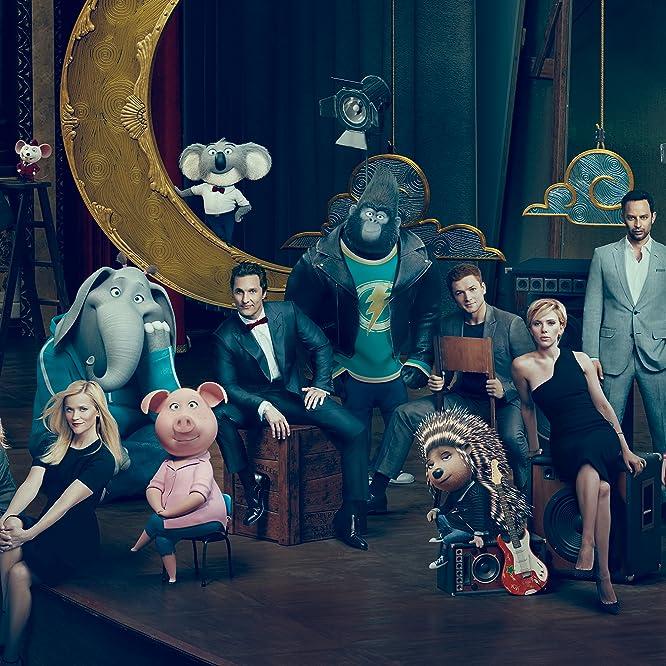 Matthew McConaughey, Reese Witherspoon, Scarlett Johansson, Seth MacFarlane, Nick Kroll, Tori Kelly, and Taron Egerton in Sing (2016)