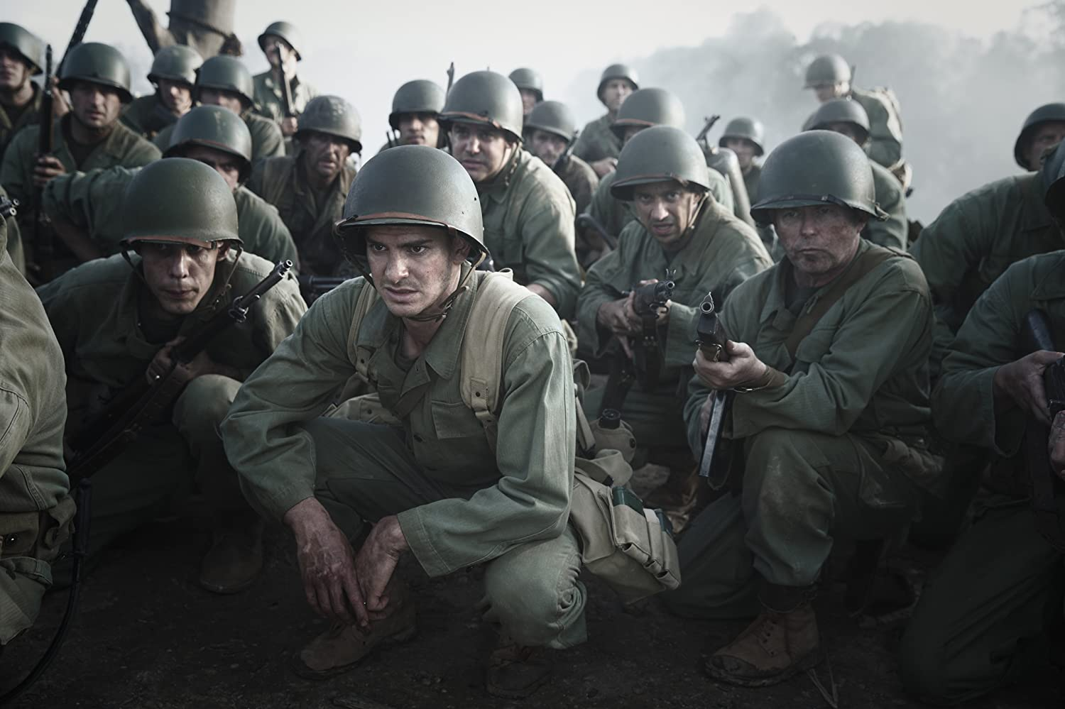 Richard Pyros, Ben Mingay, Andrew Garfield, and Goran D. Kleut in Hacksaw Ridge (2016)