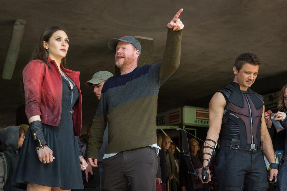Elizabeth Olsen, Jeremy Renner, and Joss Whedon in Avengers: Age of Ultron (2015)