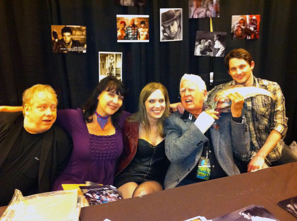 Stephen Brodie at Texas Frightmare Weekend with John Gulager, Diane Goldner, Cassie Shea Watson, Clu Gulager, and a hungry piranha