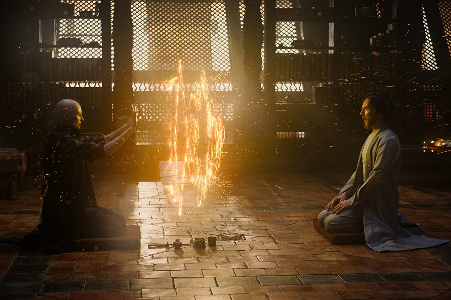 Tilda Swinton and Benedict Cumberbatch in Doctor Strange (2016)