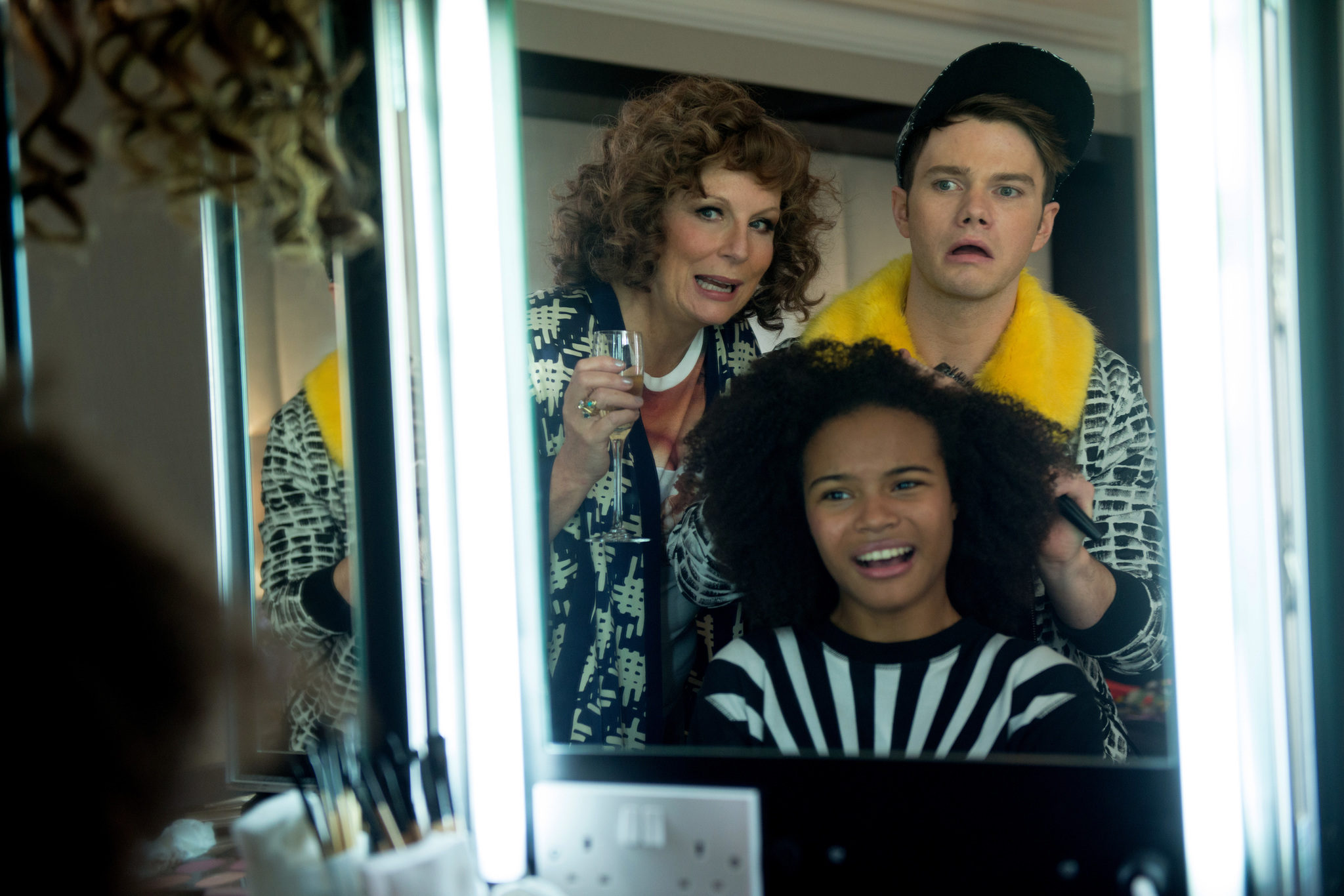 Jennifer Saunders, Chris Colfer, and Indeyarna Donaldson-Holness in Absolutely Fabulous: The Movie (2016)