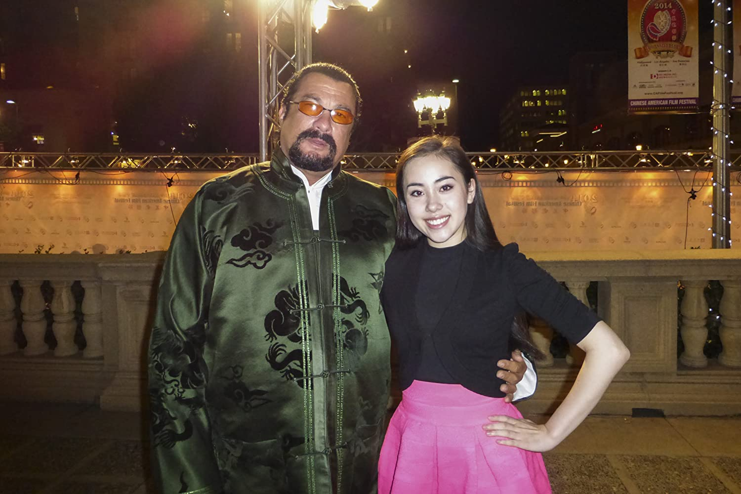 Steven Seagal and Artemis on the red carpet at the Chinese American Film Festival, 2014.