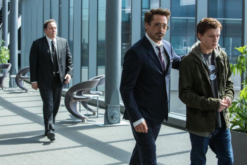 Robert Downey Jr., Jon Favreau, and Tom Holland in Spider-Man: Homecoming (2017)