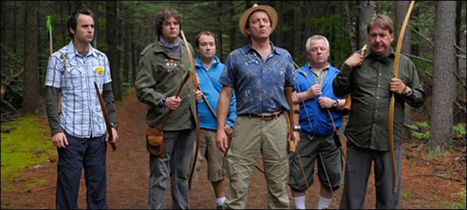 Michel Côté, Rémy Girard, Luc Senay, and Louis-José Houde in De père en flic (2009)