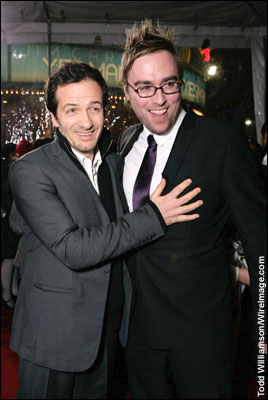 Danny Wallace and David Heyman at the Los Angeles premiere of Yes Man