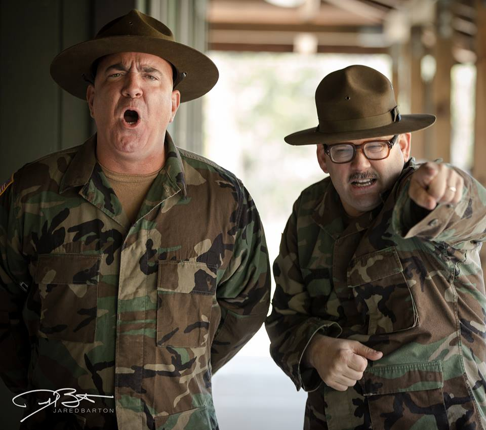 """Actors Michael Compton and Kenneth King Clowning around on camera for upcoming Comedy """"Hippiefied Soldier"""" Starring and Directed by Chuck Land."""