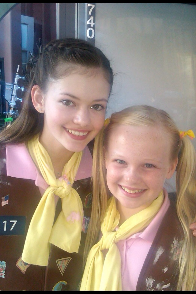 Danielle Parker and Mackenzie Foy on the set of The Cookie Mobster