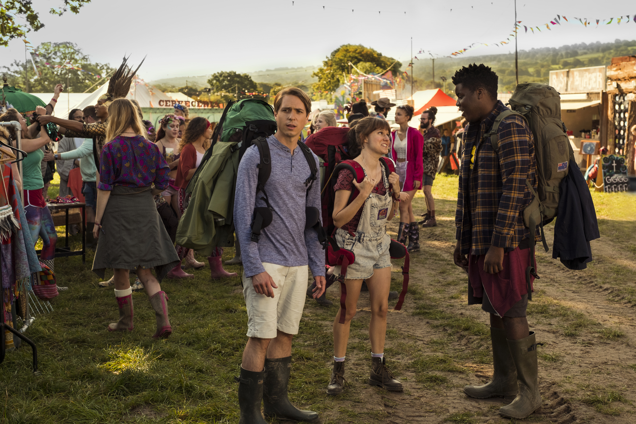 Joe Thomas, Hammed Animashaun, and Claudia O'Doherty in The Festival (2018)