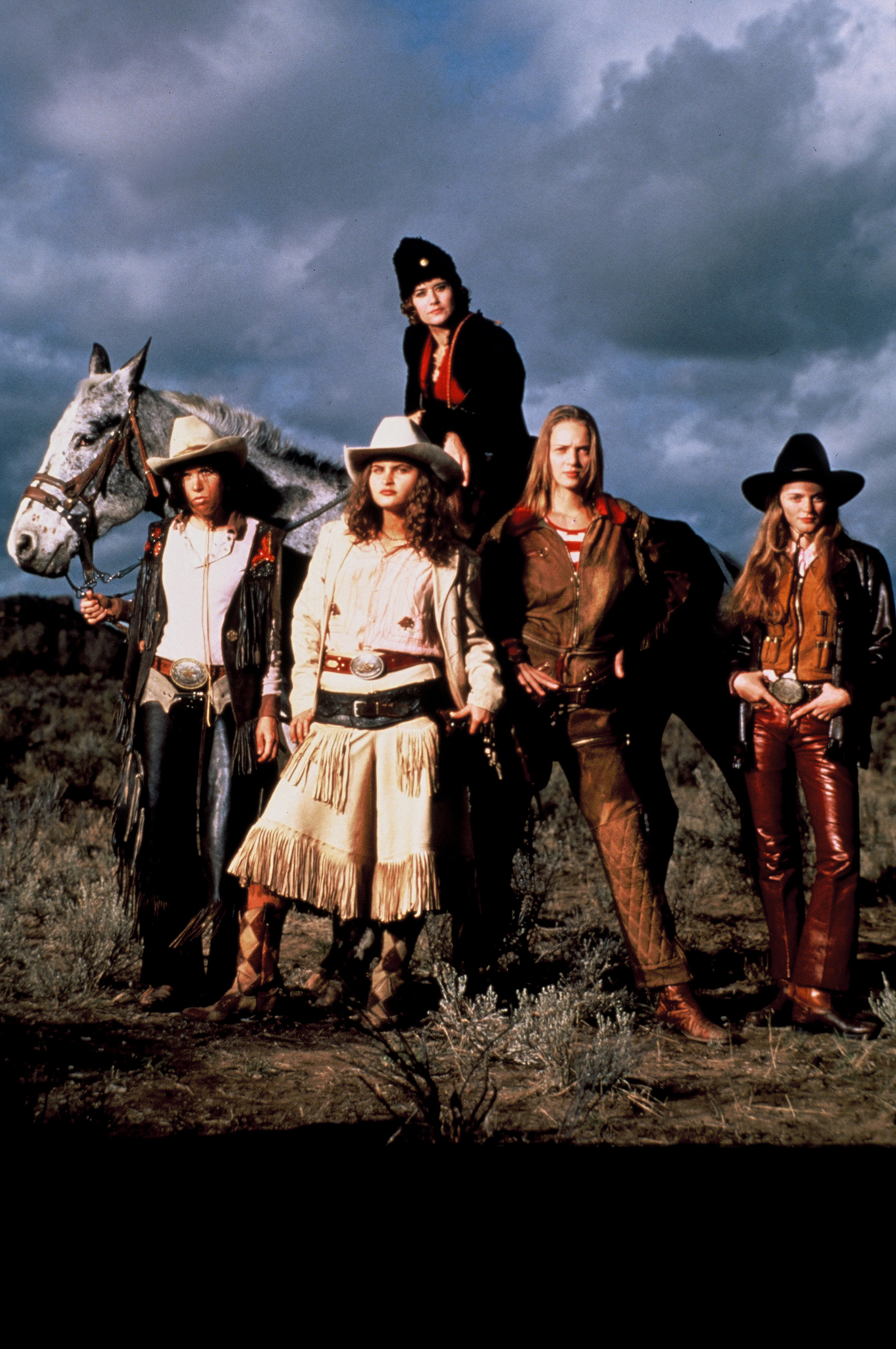 Uma Thurman, Lorraine Bracco, Heather Graham, and Rain Phoenix in Even Cowgirls Get the Blues (1993)