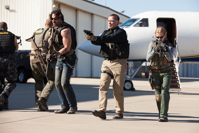 Arnold Schwarzenegger, Mireille Enos, and Joe Manganiello in Sabotage (2014)