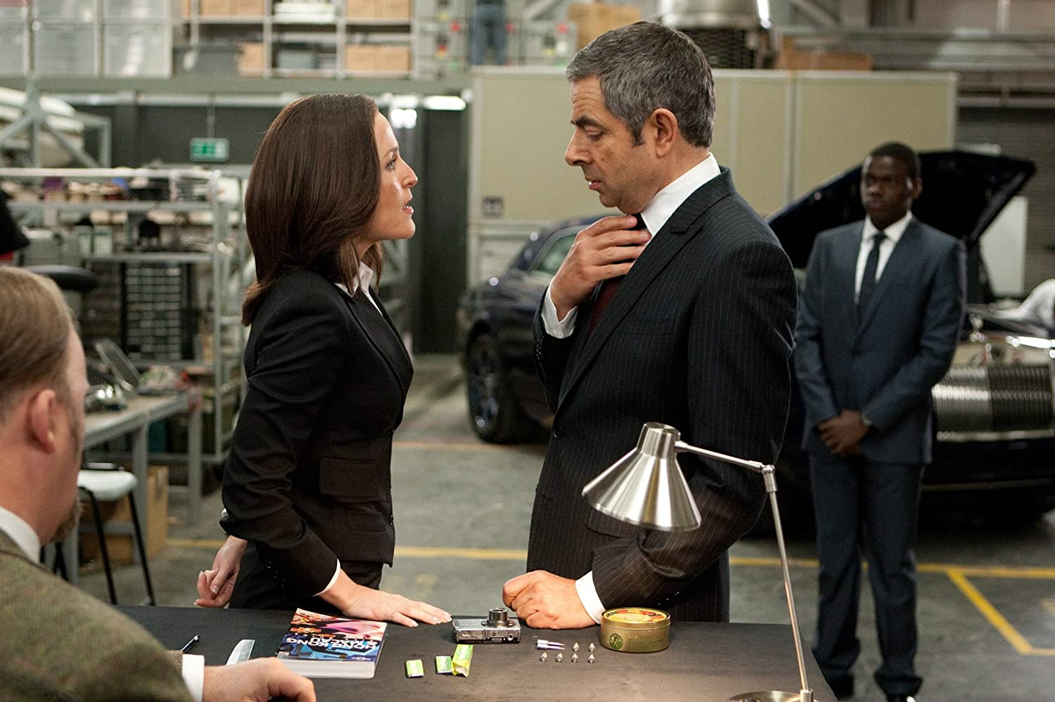 Gillian Anderson, Rowan Atkinson, and Daniel Kaluuya in Johnny English Reborn (2011)