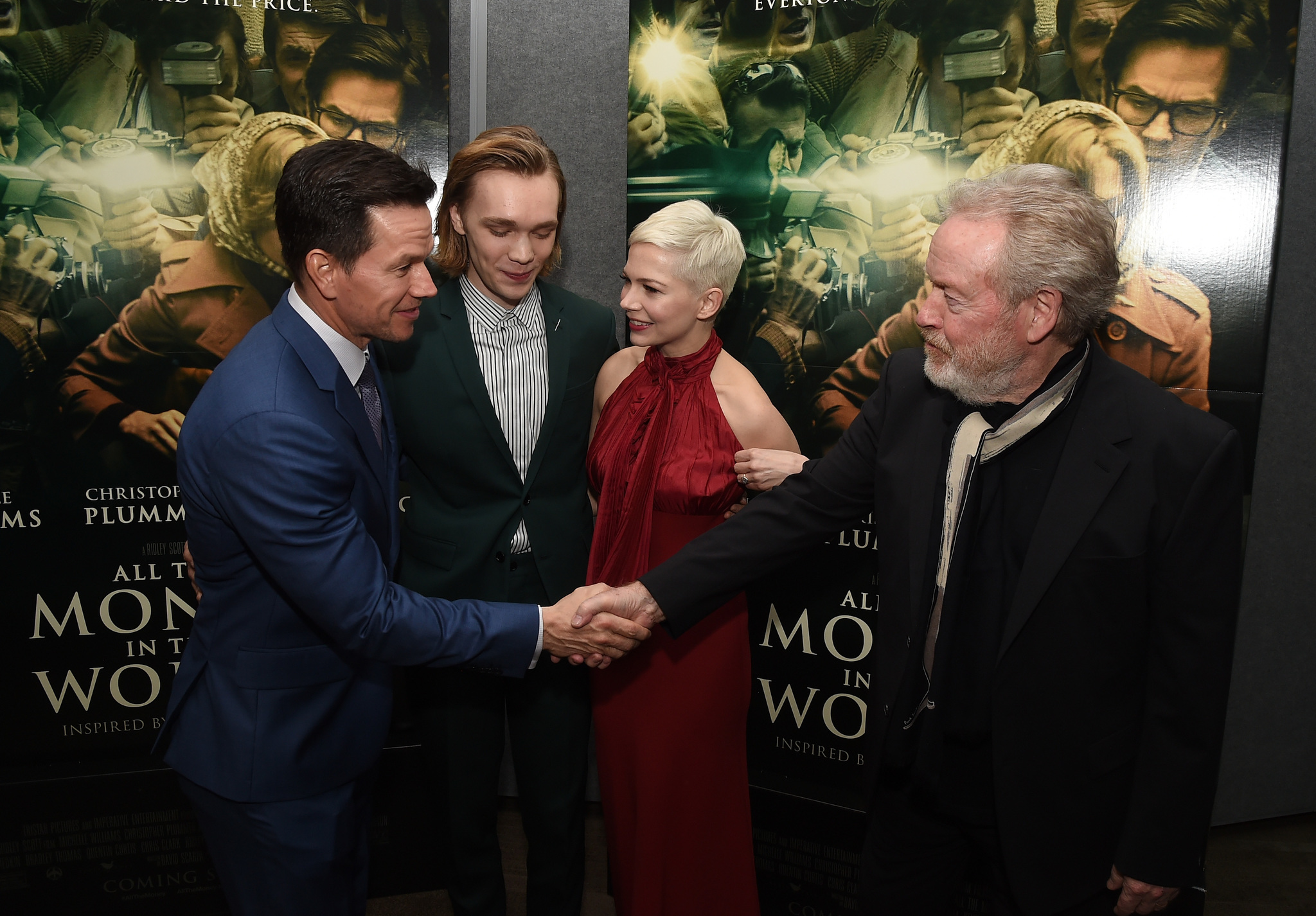 Mark Wahlberg, Ridley Scott, Michelle Williams, and Charlie Plummer