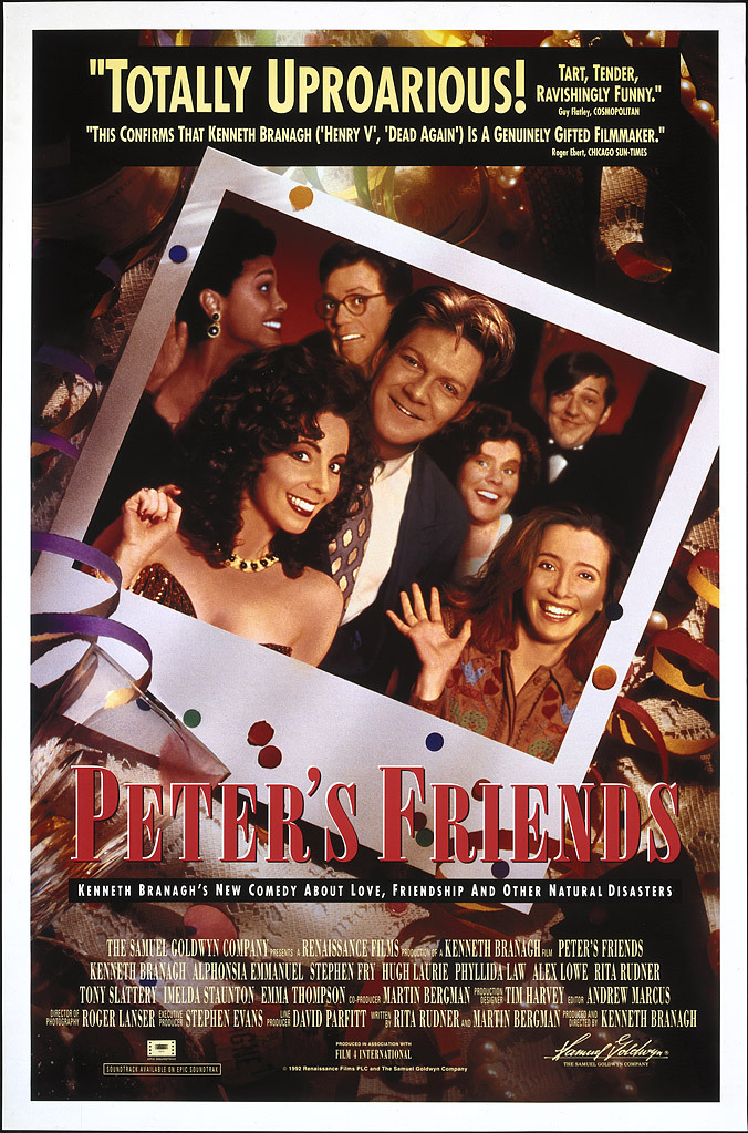 Kenneth Branagh, Stephen Fry, Emma Thompson, Imelda Staunton, Alphonsia Emmanuel, Hugh Laurie, and Rita Rudner in Peter's Friends (1992)
