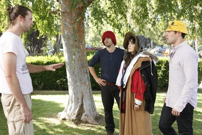 Zooey Deschanel, Max Greenfield, Jake Johnson, and Ian Wolterstorff in New Girl (2011)