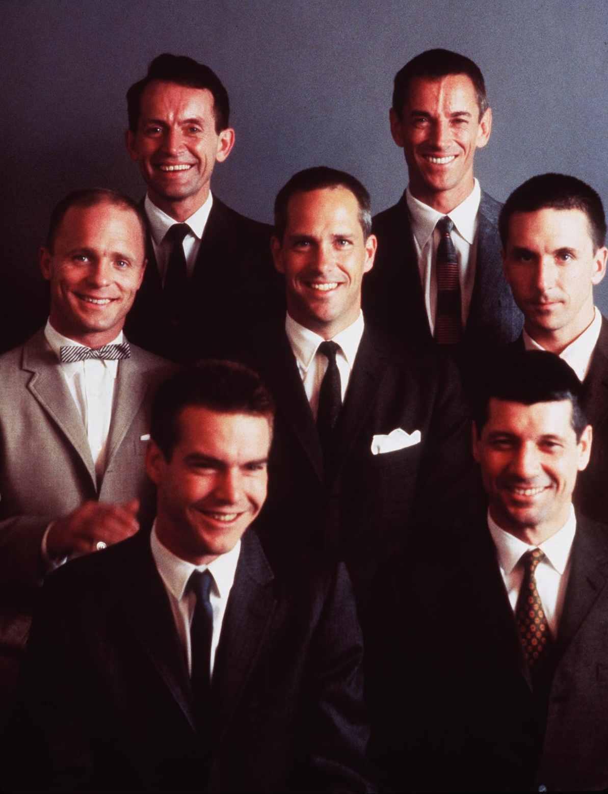Ed Harris, Lance Henriksen, Dennis Quaid, Scott Glenn, Charles Frank, Scott Paulin, and Fred Ward in The Right Stuff (1983)