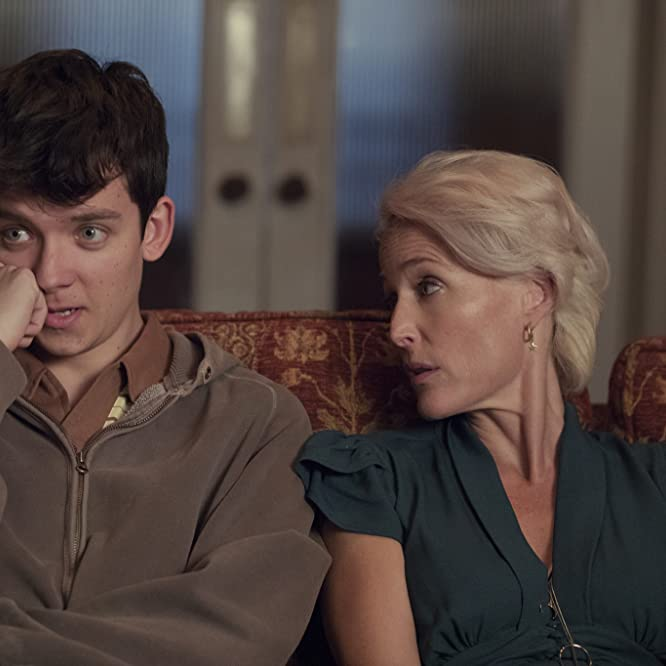 Gillian Anderson and Asa Butterfield in Sex Education (2019)