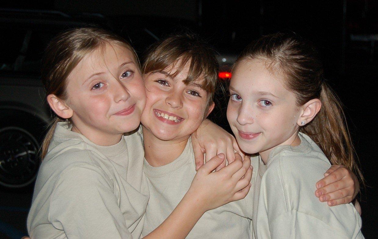 """""""Adventure Scouts,"""" Samantha Reddy, Lauren Mazzone & Brianna Ward, chill in between scenes."""