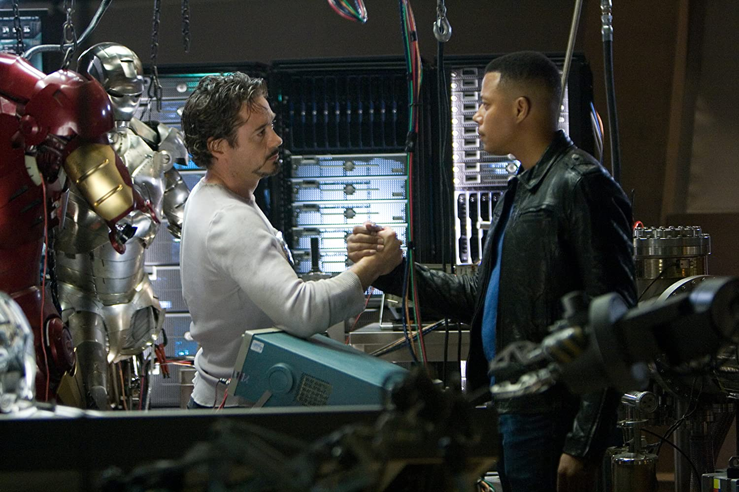 Robert Downey Jr. and Terrence Howard in Iron Man (2008)