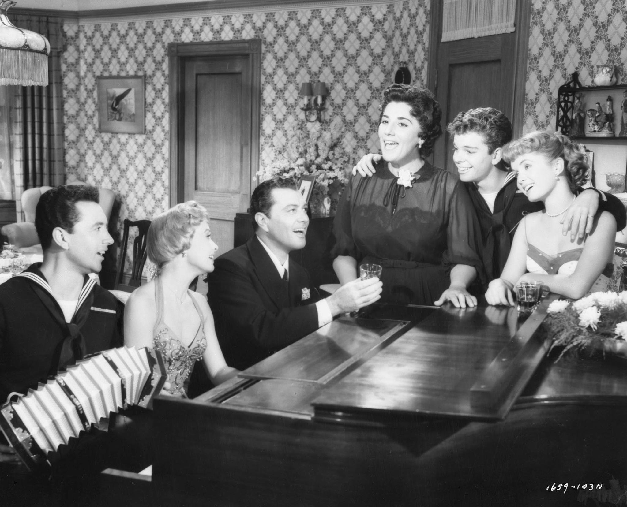 Debbie Reynolds, Jane Powell, Kay Armen, Vic Damone, Tony Martin, and Russ Tamblyn in Hit the Deck (1955)